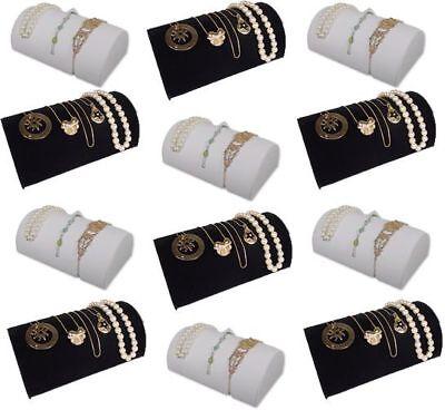 12pc Set 8x5 Bracelet Watch Black White Jewelry Display Ramp Riser Fe4bw12