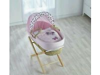Kinder valley pink Butterfly Plam moses basket with FREE opal Folding stand Brand new . 5 plc left