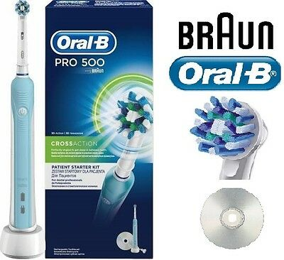 Oral-B Pro 500 3D Cross Action Rechargeable Electric Toothbrush + CD+2 Min Timer