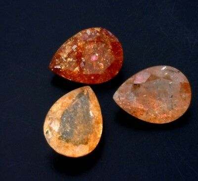 CONFETTI SUNSTONE 15 X 11 MM PEAR CUT FACETED BEAUTIFUL COPPER ORANGE COLOR Cut Faceted Pear