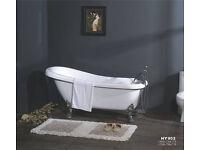 Traditional White Bathroom Luxury Freestanding Roll Top Bath Tub with Chrome Ball Claw Feet