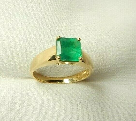 Colombian Emerald Ring Emerald Cut 1.39 Cts 14K Gold Size 7 US Fine Jewelry Muzo