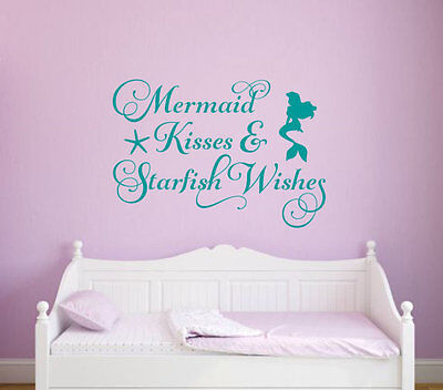 MERMAID KISSES STARFISH WISHES  Vinyl Wall Decal Quote Stick