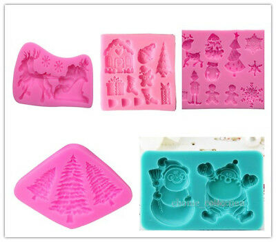 3D Xmas Christmas Tree Snowman Silicone Fondant Cake Chocolate Mould Baking Mold Christmas Tree Cake Molds