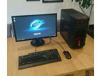 "Gaming PC 4690k water cooled GTX 750ti 8Gb RAM 24"" Monitor"