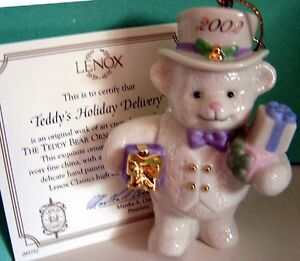 LENOX-2002-TEDDYS-HOLIDAY-DELIVERY-BEAR-ORNAMENT-New-in-Box-w-COA