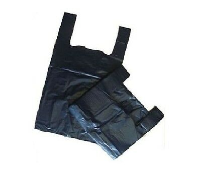 100 x Quality BLACK Plastic Vest Carrier Bottle Bags 11