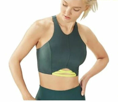 Fabletics Womens Sz Large Sports Bra Shellie Midi Activewear  Yellow/Green NWT