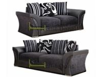 **7-DAY MONEY BACK GUARANTEE!** - Shannon Genuine Fabric 3 and 2 Set or Corner Sofa - SAME/NEXT DAY!