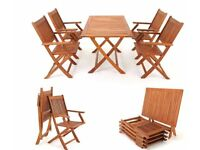 Set of Outdoor Table and 4 Chairs in Solid Acacia