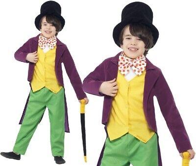 Kinder Roald Dahl Willy Wonka Modisches Kleid Kostüm Buch Tag Outfit von Smiffys