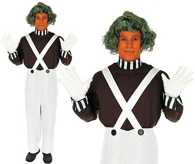 Mens Chocolate Factory Worker Costume Oompa Loompa Fancy Dress Outfit & Wig New ()