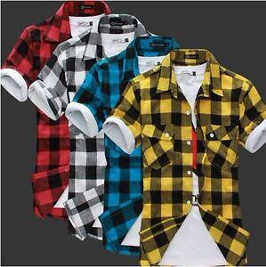 Mens-Slim-fit-Stylish-Dress-Short-Sleeve-Plaid-Shirts-H542-4color-4size