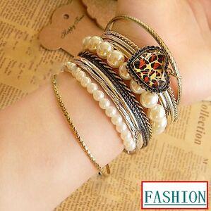Hot-New-Fashion-Nice-Charm-Many-Row-Pearl-Leopard-Heart-Bracelet-Free-Shipping