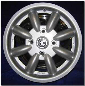 MGB Mini Lite Wheels, 14x5.5,  with Center Caps & Chrome Wheel Nuts, Set of 4