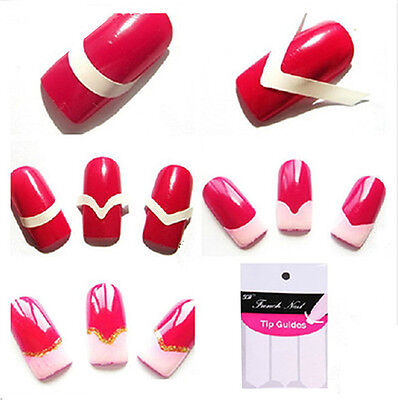 5 pack 240 pcs French Chevron Teardrop Manicure Nail Tips Guide Sticker Stencil2 for sale  Fair Oaks