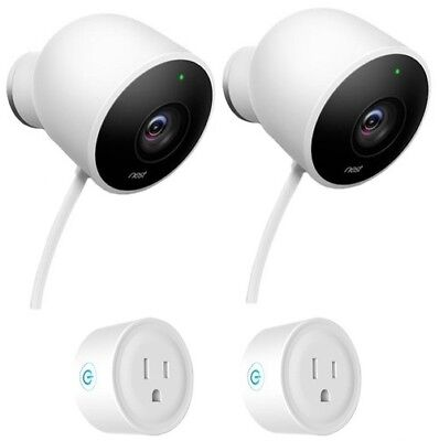 Google Nest Wired Outdoor Security Camera (2 Pack) w/ 2-Pack Wifi Smart Plug