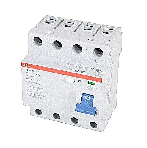 F204AC-63/0.03, ABB, Rcd F200 4P 63A 30Ma Circuit Breaker