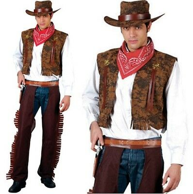 Mens Western Cowboy Fancy Dress Costume Men's Cow Boy Outfit Brown New w - Cowboy Outfit For Men