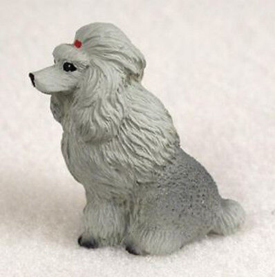 POODLE GRAY TINY ONES DOG Figurine Statue Pet Lovers Gift Resin