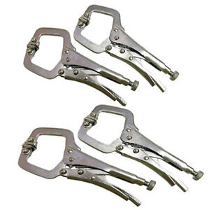 4 PIECE MINI WELDING C CLAMPS MOLE VICE GRIP LOCKING PLIERS SHEET METAL PLIERS