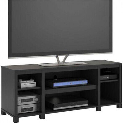 Entertainment Cubby TV Stand, up to 50 inch TV, Black Oak Wood Finish - Solid Oak Tv Stands