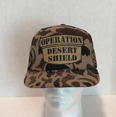 US Military Operation Desert Shield Camo Trucker Cap Hat Adjustable Snapback ()