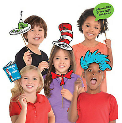 DR. SEUSS CAT IN THE HAT photo booth props 13pcs green eggs ham book](Cat In The Hat Birthday Decorations)