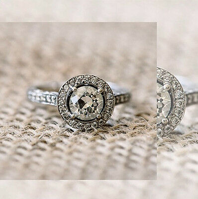 2.10 Natural Round Cut Halo Pave Diamond Engagement Ring - GIA Certified