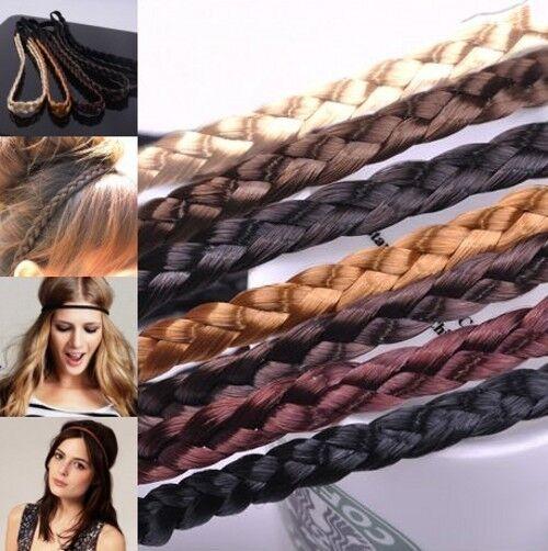 Geflochten Stirnband Zopf Haarband Haarreifen Holz Perlenkette Leder Zopfgummi
