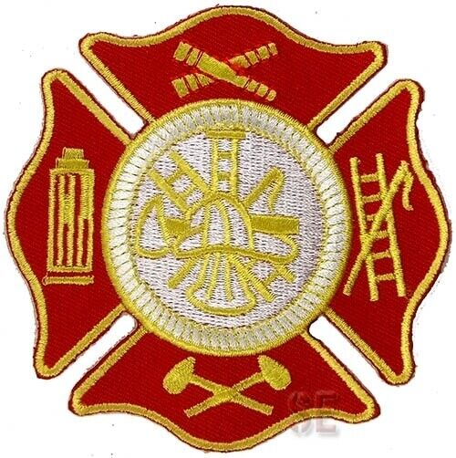 """Firefighter Fire Rescue Patch Maltese Cross w Tools of the Trade 3.5"""" Red Gold"""