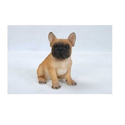 (Sitting FRENCH BULLDOG Puppy Dog  - Life Like Figurine Statue Home/ Garden NEW)