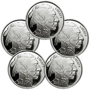 Lot of 5 - 2014 American Indian - Buffalo 1 Troy Oz .999 Silver Rounds SKU30313
