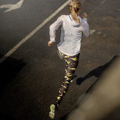 Womens Running Leggings Camp Print Black Neon Yellow Size Small HPE Clothing