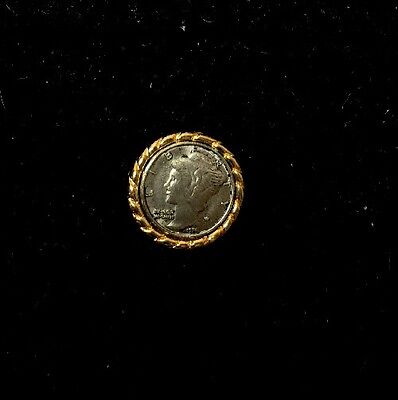 Liberty Dime Replica Coin in 14KT Gold Plated Tie Tack/Lapel Pin Setting