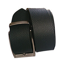 Mix of leather men black self textured belt with needle pin point buckle belt