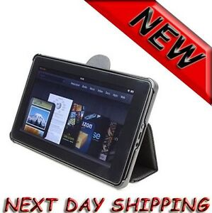 BookStand Cover PU Leather stand Case for Amazon Kindle Fire Black NEW