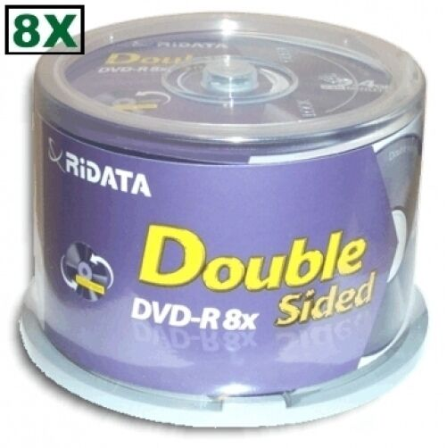 50-pak Ritek Ridata 9.4gb =double-sided= 8x Dvd-r's (record Both Sides Of Disc)