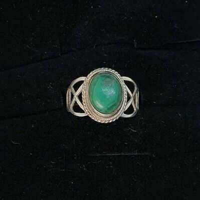 Vintage 925 Sterling Silver Ring w/ Malachite Stone UK size L 1/2