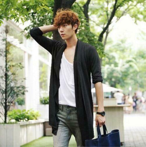 Korean Chic Vogue Mens Loose Boys Hip Hop Jacket Cloak Cardigan Casual Coat 2019