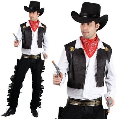Mens Western Cowboy Fancy Dress Costume Men's Cow Boy Outfit Black New w - Cowboy Outfit For Men