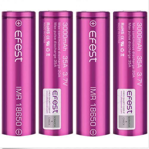 4 x purple EFEST IMR 18650 35A RECHARGEABLE Li-MN Battery 3000mAh  w/cases