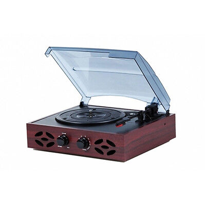 TechPlay ODC15 Retro Classic 3-Speed Wooden Record Player Turntable FM Radio NEW