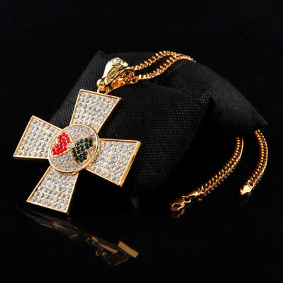 Elvis Presley Maltese Cross Concert Iced Out Gold Plated Pendant Necklace