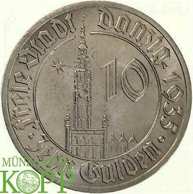 R406) J.D20 FREIE STADT DANZIG 10 Gulden 1935