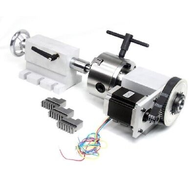 4th Axis Cnc Engraving Machine Router Rotational 100mm 3-jaw Chuck Tailstock