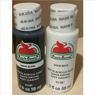 Apple Barrel Matte Acrylic Craft Paint Set 20504E Black 20503E White 2Fl Oz each