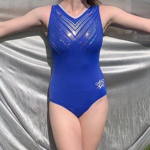 GK Elite size AM blue sequinz Gabby Douglas gymnastics leotard Adult Medium