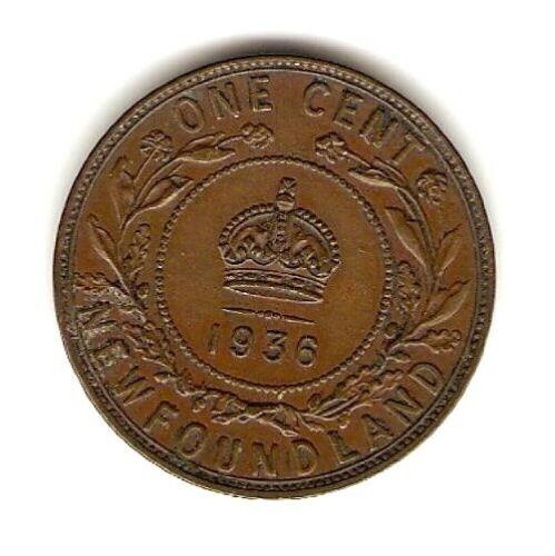1936 NEWFOUNDLAND - CANADA COIN 1 CENT