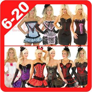 New-Ladies-Burlesque-Corset-Rockabilly-Moulin-Rouge-Fancy-Dress-Costume-Overbust
